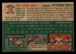 1954 Topps #75  Fred Haney  Back Thumbnail