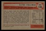 1954 Bowman #136  Clyde Vollmer  Back Thumbnail