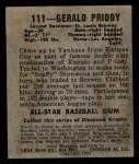 1948 Leaf #111  Jerry Priddy  Back Thumbnail