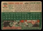 1954 Topps #70  Larry Doby  Back Thumbnail