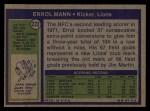 1972 Topps #222  Errol Mann  Back Thumbnail