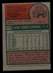 1975 Topps Mini #417  Skip Lockwood  Back Thumbnail