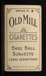 1910 T210-2 Old Mill Virginia League  Cote  Back Thumbnail