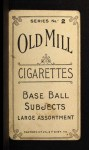 1910 T210-2 Old Mill Virginia League  Lovell  Back Thumbnail