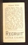 1912 T207  Dewey Wilie  Back Thumbnail