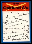 1973 Topps Blue Checklist   Athletics Front Thumbnail