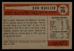 1954 Bowman #73  Don Mueller  Back Thumbnail