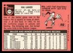 1969 Topps #316  Hal Lanier  Back Thumbnail