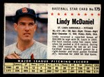 1961 Post #175 BOX Lindy McDaniel   Front Thumbnail