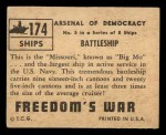 1950 Topps Freedoms War #174   Battleship  Back Thumbnail