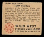 1949 Bowman Wild West #14 B  Cliff Dwellers Back Thumbnail