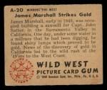 1949 Bowman Wild West #20 A  James Marshall Strikes Gold Back Thumbnail