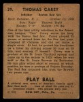 1940 Play Ball #39  Tom Carey  Back Thumbnail