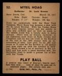 1940 Play Ball #52  Myril Hoag  Back Thumbnail