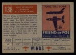 1952 Topps Wings #138   AD-5 Skyraider Back Thumbnail