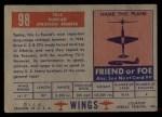 1952 Topps Wings #98   TU-4 Back Thumbnail
