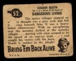 1950 Topps Bring Em Back Alive #52   Sudden Death Back Thumbnail