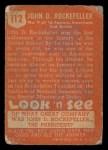 1952 Topps Look 'N See #112  John D. Rockefeller  Back Thumbnail
