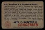 1951 Bowman Jets Rockets and Spacemen #42   Landing in Venusian Jungle Back Thumbnail