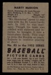 1952 Bowman #85  Marty Marion  Back Thumbnail