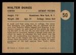 1961 Fleer #50   -  Walter Dukes In Action Back Thumbnail