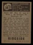 1951 Topps Ringside #39  Benny Leonard  Back Thumbnail
