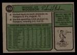 1974 Topps #143  Dick Woodson  Back Thumbnail
