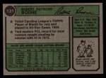 1974 Topps #131  Bob Boone  Back Thumbnail