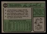 1974 Topps #214  Billy Grabarkewitz  Back Thumbnail