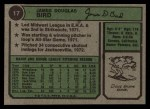 1974 Topps #17  Doug Bird  Back Thumbnail