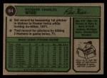 1974 Topps #84  Rick Wise  Back Thumbnail