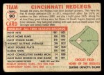 1956 Topps #90 D55  Reds Team Back Thumbnail