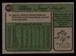 1974 Topps #325  Tommy Harper  Back Thumbnail