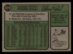 1974 Topps #278  Cookie Rojas  Back Thumbnail