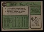 1974 Topps #296  Ray Corbin  Back Thumbnail