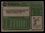 1974 Topps #323  Richie Scheinblum  Back Thumbnail