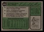 1974 Topps #466  Dick Billings  Back Thumbnail