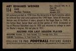 1952 Bowman Small #114  Art Weiner  Back Thumbnail