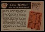 1955 Bowman #103  Eddie Mathews  Back Thumbnail