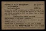 1952 Bowman Small #1  Norman Van Brocklin  Back Thumbnail