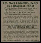 1952 Red Man #21 AL x Vern Stephens  Back Thumbnail