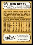 1968 Topps #485  Ken Berry  Back Thumbnail