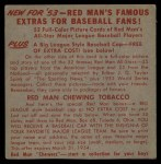 1953 Red Man #8 AL x George Kell  Back Thumbnail