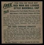 1954 Red Man #12 AL x Al Rosen  Back Thumbnail