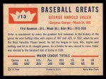 1960 Fleer #13  George Sisler  Back Thumbnail