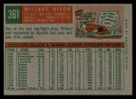 1959 Topps #361  Willard Nixon  Back Thumbnail