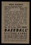 1952 Bowman #92  Eddie Waitkus  Back Thumbnail