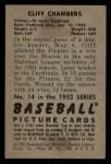 1952 Bowman #14  Cliff Chambers  Back Thumbnail