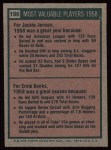 1975 Topps #196   -  Jackie Jensen / Ernie Banks 1958 MVPs Back Thumbnail