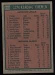 1975 Topps #313   -  Mike Marshall / Terry Forster Leading Firemen Back Thumbnail